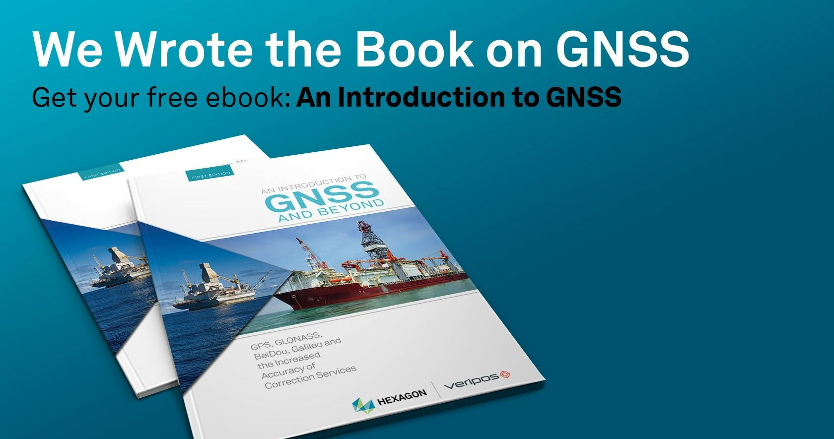 Cover image of the Veripos Introduction to GNSS Book on a blue background.
