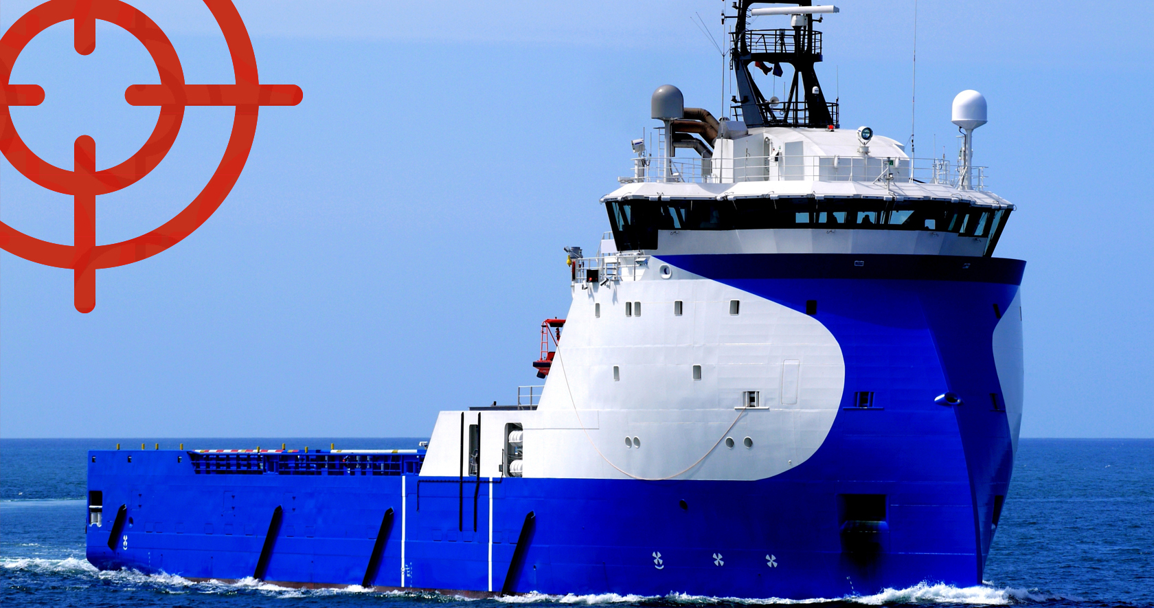 White and blue supplu ship on the ocean.